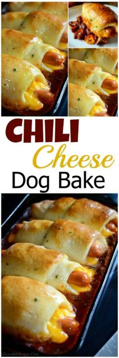 Chili Cheese Dog Bake; made these for dinner with crescent dough instead of pizza and it turned out wonderfully!        §sr