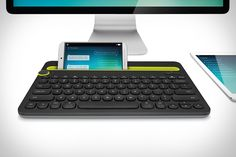 """The Logitech K480 Multi-Device Keyboard is not a standard Bluetooth keyboard. Thanks to a dedicated dial on the side, you can easily bounce between devices."""