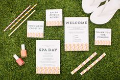 DIY Network shows you how to plan for a luxurious spa day baby shower/sprinkle. Free printables and tutorials make for an easy shower that is sure to pamper any new mom to perfection. Baby Sprinkle, Sprinkle Shower, Spa Shower, Girl Shower, Bridal Shower, Pamper Party, Spa Party, Homemade Spa Treatments, Library Baby Showers