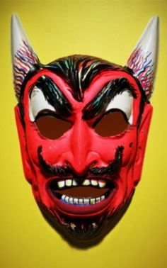 devil with huge horns - vintage retro plastic Halloween mask