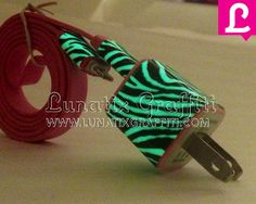Zebra Glow in the Dark iPhone 5 Charger - 2-in-1 Glow in the Dark Red iPhone Charger - iPad Mini Charger - iPod Charger on Etsy, $25.00