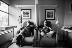 """Howie sits beside his wife Laurel in what he calls their """"his and hers"""" chairs as they get their weekly chemotherapy treatments. A daughter photographs her own parents who were in parallel treatment for stage-four cancer, side-by-side. The project looks at love, life, and living, in the face of death. It honors their memory by focusing on their strength and love, both individually and together, and shares the story of their final chapters, within a year of each other.Long-Term Projects…"""