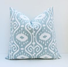 Blue Green Pillow Decorative Gray Blue Pillow Decorative Throw Pillow Cover 16x16 inch  Ikat  Printed fabric both sides