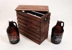 SALE - Double Growler Beer Crate with Lid - Handcrafted - Rustic - Holds Two Beer Growlers - Stained Beer Crafts, Craft Beer, Mandy Candy, Beer Growler, Gifts For Hubby, Cooking With Beer, Diy Projects To Try, Craft Projects, Old Crates