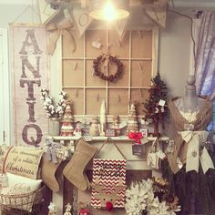 Here is a sneak peak of some of our new Christmas arrivals!  I have been working all weekend putting out stockings burlap tree skirts ornaments Christmas signs handmade burlap & lace ruffled trees pillows coasters and so much more! Our hours this week are Wednesday 10-5 Thursday 10-8 (shop late north town event extended hours) Friday 10-5 & Saturday 10-5 #tiasshabbychicboutique #shabbychic #farmhouse #industrial #burlap #lace #christmas #decor #stocking #vintagestyle #vintage #antique…