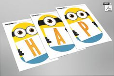 INSTANT DOWNLOAD - Despicable Me Minion Inspired - Happy Birthday Banner - PDF format - Available in minutes - Print as many as you want via Etsy