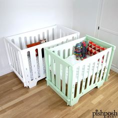 NO. TOOLS. REQUIRED. Oh, yeah. You read that right. The Noninoni Kids Full and Mini Cribs fold completely flat for storage and assembles in just minutes. Made of sustainable FSC Certified Baltic Birch plywood. Available in 7 colors in both sizes - Full size crib priced at $750, mini crib priced at $660.  http://www.pishposhbaby.com/noninoni-kids.html