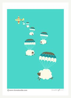 Sheepy Chmury Reprodukcja według ilovedoodle na Etsy