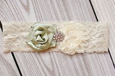 Ivory and Sage Wedding Garter by LoveYourLittleOne on Etsy, $26.99