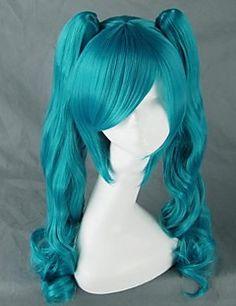 vocaloid miku azul larga peluca cosplay rizada