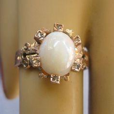 Captivating AESTHETIC Movement 14k Rose Gold Rose Diamond Honey Opal Ring