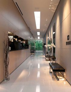 Modern and Luxury Glass Pavilion Architecture with Transparent Wall and Large Natural Garden - Home Design and Home Interior Pavilion Architecture, Interior Architecture, Interior Design, Contemporary Hallway, Modern Hallway, Glass Pavilion, Tiled Hallway, Luxury Homes Dream Houses, Property Design