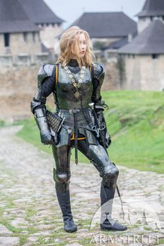 "Female armor kit made of blackened spring steel ""Dark Star"" for sale. Available in: stainless, blackened spring steel, mirror polishing, satin polishing :: by medieval store ArmStreet Female Armor, Female Knight, Pauldron, Landsknecht, Knight Armor, Spring Steel, Warrior Girl, Dark Star, Suit Of Armor"