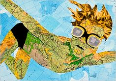 """Swimming  by Portuguese artist Joao Machado. This image is composed entirely of vintage maps. """"Everybody needs a map, a way to see the world. We need maps to understand the physical world we live in. We look to maps to understand the spiritual world, as in astrology, for example. We need maps to understand each other in the constant exploration. An exploration of both the extent of the galaxy and the depths of our own inner space."""""""