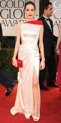 Angelina Jolie ~ Atelier Versace gown with blood~red accent & Christian Louboutin clutch ~