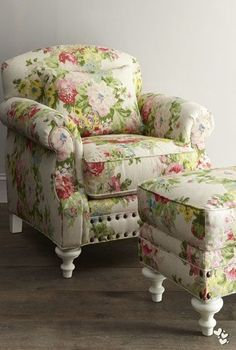 we covered this chair and stool, in a fabric with that same pop of spring-green color, at Rose cottages and gardens