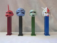 GUNDAM Pez Dispenser Loose Mint Set of 4 With Box And Candy