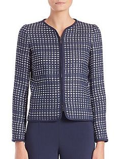 Armani Collezioni Embroidered Zip-Front Jacket - Blue  - Size 4