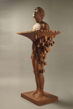 Resplendent Pixelated Wood Sculptures – Fubiz Media