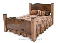 Our refined rustic bed with natural slabs is both elegant and rustic. Using those two adjectives used to be considered an oxymoron, but this unique bed design proves a bed can be both rustic and elegant at the same time. The post used for the prototype in the photo are made from alder. We are