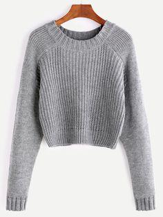 Grey Raglan Sleeve Crop Sweater - Grey Raglan Sleeve Crop Sweater Source by jaquelineseis - Crop Pullover, Crop Top Sweater, Raglan, Sweater Jacket, Grey Sweater, Winter Outfits Women, Fall Outfits, Cute Outfits, Cute Sweaters