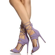 CiCiHot Lavender Faux Nubuck Lace Up Single Sole Heels ($46) ❤ liked on Polyvore featuring shoes, lavender shoes, nubuck shoes, synthetic shoes, light purple shoes and faux shoes