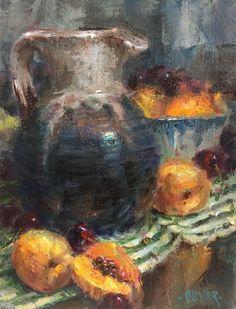 "Julie Ford Oliver, Pitcher & Apricots8""x6"" oil"