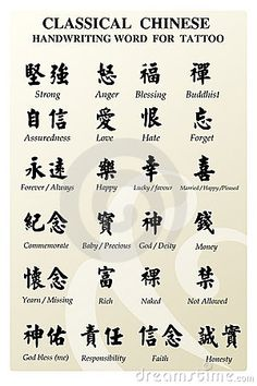 Chinese Symbols for Words