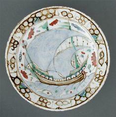 Plat à décor de bateau et deux poissons, Iznik, période ottomane (13e siècle-1922), vers 1660