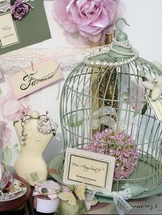 Beautiful sage green color works well with the pinkish florals