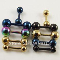 3 piece industrial piercing | 50 pc recta industrial barbell colorido la perforación del oído ...