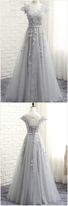 Glamorous Scoop Cap Sleeves Prom Dress,Long Evening Dress,Cheap Prom Dress,Sexy Prom Dress,lace Tulle Long Prom Dress With Appliques #cheapfashionclothes #inexpensivedesignerfashion #promdresses #promdresseslong