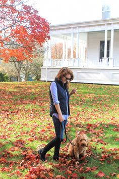 Weekend look from mackenzie horan design darling New England Fall Foliage, Preppy Fall Outfits, Autumn Home, Autumn Fall, Dressed To The Nines, Autumn Winter Fashion, Fashion Fall, Winter Style, Girl And Dog