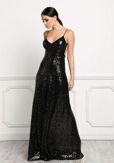 Black Long Slip Sequin Dress - Occasions - Dresses