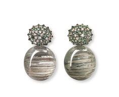 Hemmerle earrings, diamonds, sapphires, beryls, white gold, silver, stainless steel 048813