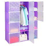 Leapair DIY Armoire Plastique Penderie en résine 12 Cubes Meuble de Rangement Placard Modulable - Violet