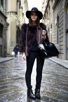 20 Ways to Wear Colorful Fur - multicolor deep burgundy + black fur coat + black skinny jeans and a fedora