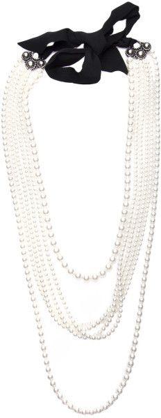 Lanvin White Multiple Strand Pearl Necklace