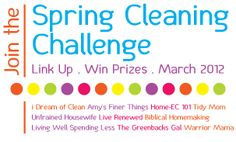 Spring Cleaning Challenge with prizes like 2 GE Washer/Dryer sets, closet organizer from The Stow Company, and a Shark Steam Mop!!