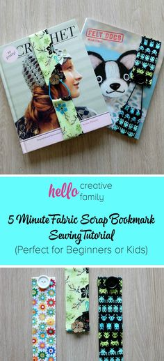 What a great beginner sewing project idea! It would make a great kid's craft project too! This 5 minute sewing project gives you step by step instructions, with photos for each step, on how to make a 5 minute fabric scrap bookmark! These would make great
