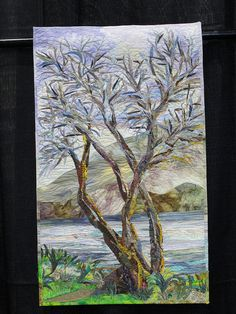 Serene quilt of a tree by a stream  (Road to CA 2012)#Repin By:Pinterest++ for iPad#
