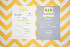 Yellow, white and gray modern wedding paper products, photo by April Smith & Co. Photography | junebugweddings.com