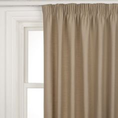 Polycotton Rib Pencil Pleat Curtains, Natural