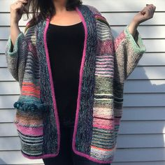 Ravelry: Project Gallery for Penguono pattern by Stephen West Knitting Stitches, Hand Knitting, Knitting Patterns, I Cord, Seed Stitch, Knitted Poncho, Garter Stitch, Knit Jacket, Knitwear