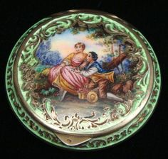Antique Sterling Guilloche Enamel Compact Powder Case.