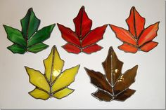 SALE Stained Glass Hanging Fall Leaves by StayCsStainedGlass, $40.00