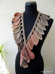 Crochet Scarf PATTERN Autumn Leaf Fall Crochet par LyubavaCrochet