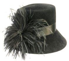 Black Women's Hat, Fur Felt, Cloche, Ostrich Feather, Church Hat, Wedding Hat, Theatre Hat, Hand Made in the USA.