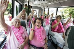 Residents of Bethany Towers, a Lower Allen Twp., Pa. senior residence, take delivery of their new bus. The bus was bought with proceeds from sales of a calendar featuring 12 semi-nude female residents of the Towers. The calendar girls wave to television photographers before taking the first ride on the new bus. (See more photos, video)