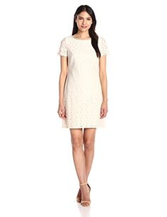 Adrianna Papell Womens Short Sleeve Lace Shift Ecru 10 ** Learn more by visiting the image link.